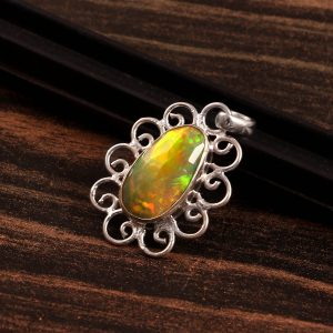 Natural ethiopian Opal Stone 925 Sterling Silver Pendant Jewelry P-560