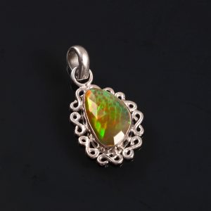 Natural ethiopian Opal Stone 925 Sterling Silver Pendant Jewelry P-568