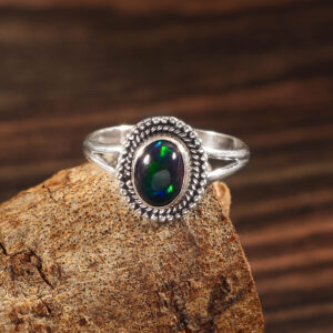 Natural Ethiopian Opal Stone 925 Sterling Silver Gemstone Ring - R698